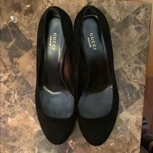 Gucci Block Heel Black Suede Pumps